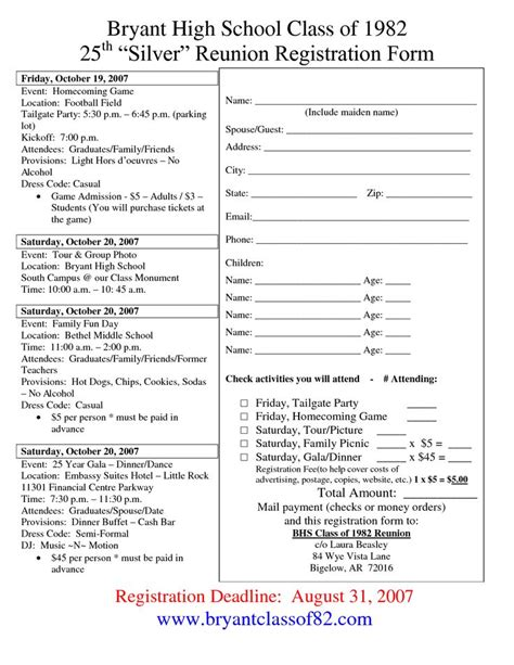 family reunion registration form template 78 best reunion registration images on family