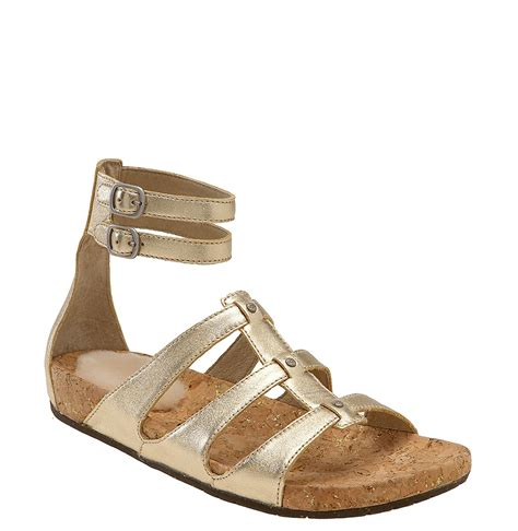 gold leather sandals ugg australia sechura pale gold leather
