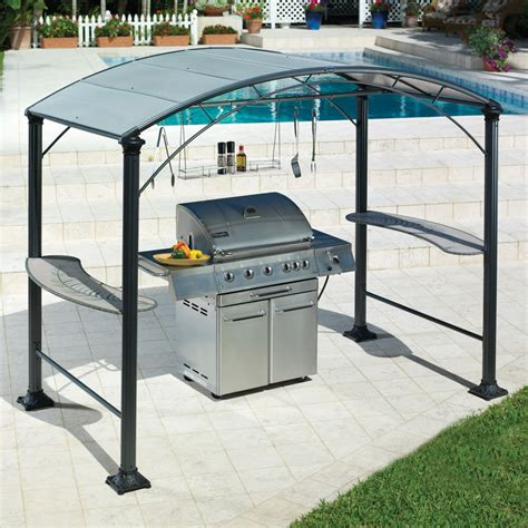 bbq awning the barbecue gazebo hammacher schlemmer