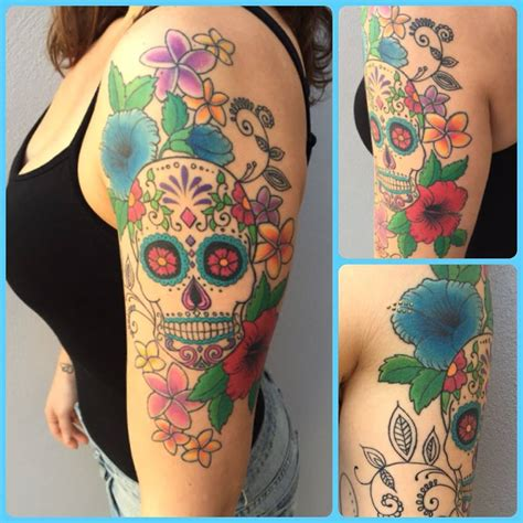 feminine sugar skull tattoo designs the gallery for gt girly sugar skull sleeve