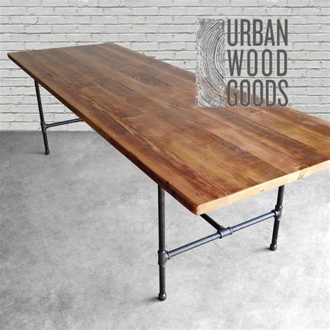 Salvaged Wood Dining Table Wood Dining Table With Reclaimed Wood Top And Iron Pipe Legs