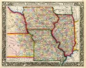 Iowa Illinois Map by Old State Map Of Illinois Missouri Iowa Nebraska By