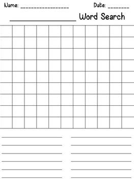 make your own word search template make your own word search template by megan tpt