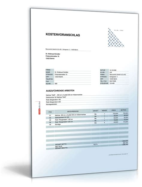 Angebot Vorlage Bau kostenvoranschlag montage rolll 228 den rollos und markisen