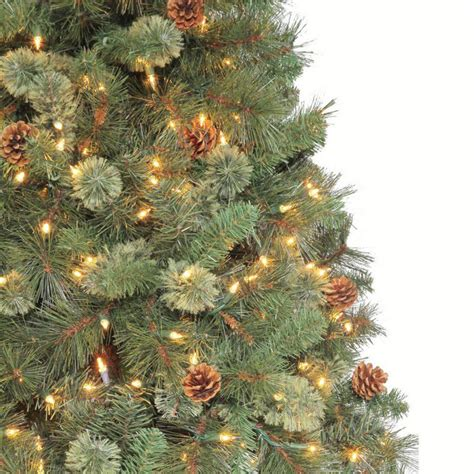 martha stewart living 7 5 ft pine set artificial tree with pinecones