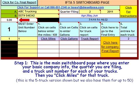 Ifta Spreadsheet by Ifta Fuel Tax Software Excel Spreadsheet For Truckers