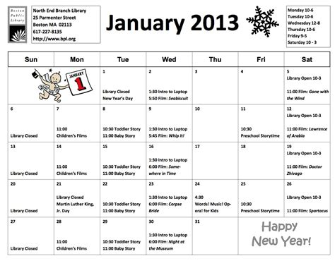 the library of virginia calendar of events january 2016 north end library calendar for january 2013