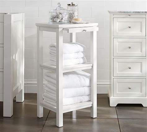 classic small space floor storage bathroom pottery barn