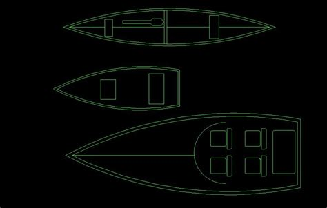 canoe  small boat top view  dwg block  autocad