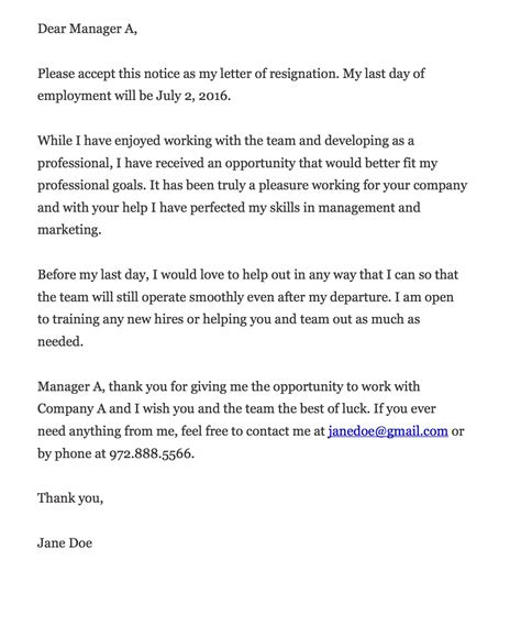 Resignation Letter Gratitude resignation letter appreciation letter after resignation