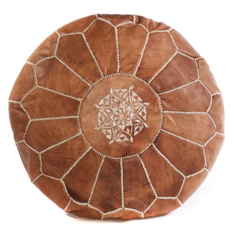 Morrocan Ottoman Brown Moroccan Pouf Leather Cush Co Australia