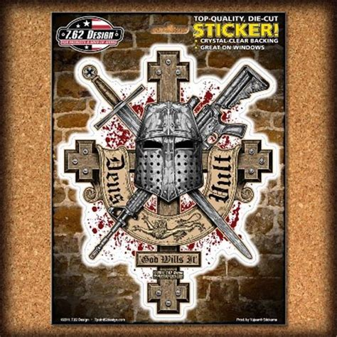 Gildan Deus deus vult god wills it sticker 7 62 design