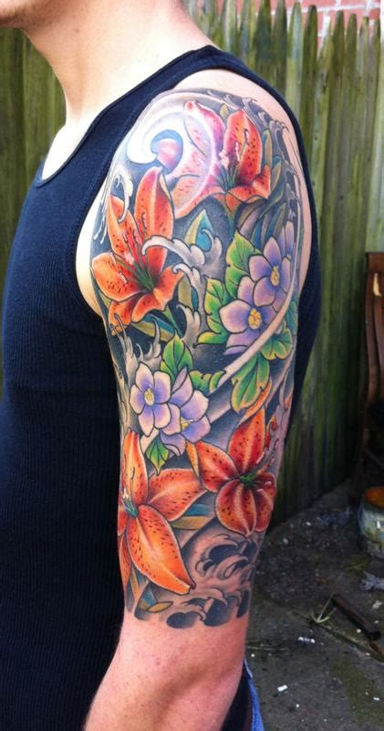 flower half sleeve tattoos the map tattoos traditional japanese