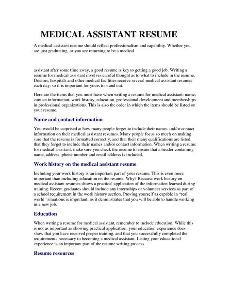 sle of medical assistant resume free resumes tips