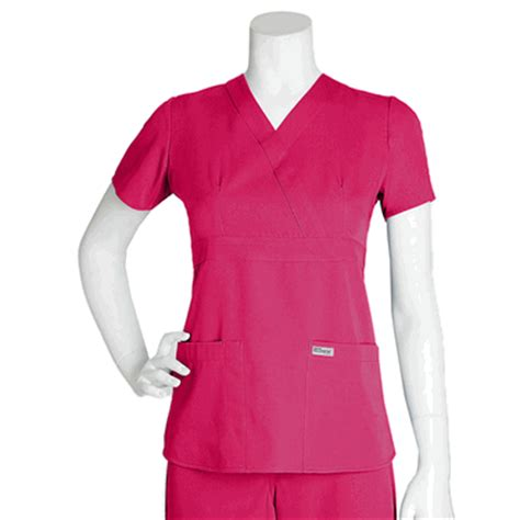 Mock Two Fit Top greys anatomy mock wrap scrub top 3 pocket junior fit