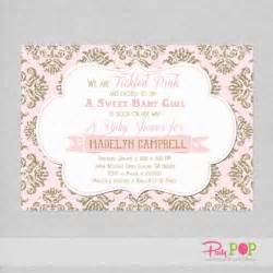 pink and gold glitter baby shower invitation hacked by