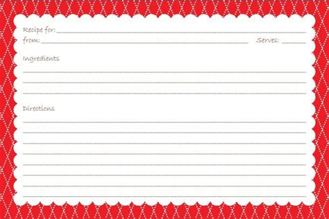 printable recipe cards 3x5 recipe card printable red printable goodies more