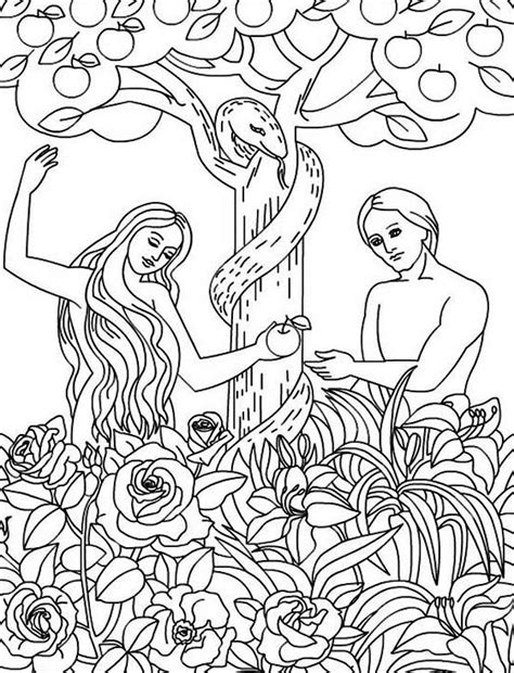 coloring page for adam and eve adam and eve disobey god command coloring page jpg 600