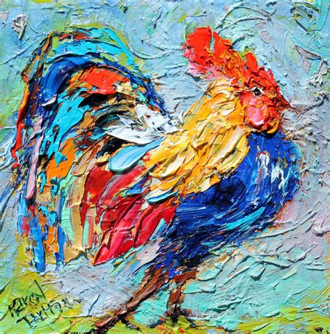painting with original painting racy rooster bird abstract impressionism