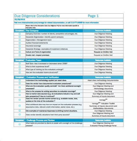 sle due diligence checklist template 9 free