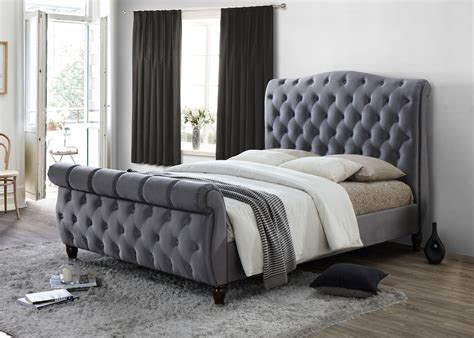 Grey King Bed Frame by Colorado Chesterfield Sleigh Grey Fabric 6ft 180cm