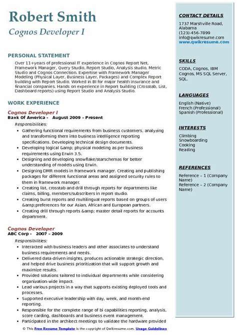 ibm cognos resume sle cognos developer resume sles qwikresume