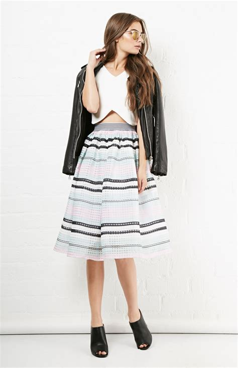 An A Line Skirt Look by J O A Striped Mesh A Line Skirt In Multi Colored Dailylook
