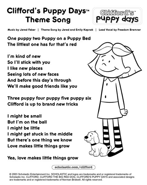 puppy song clifford make do printable