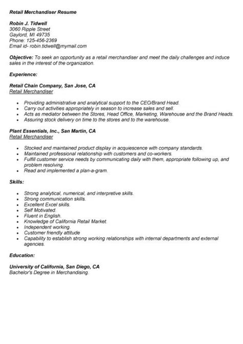 the best resumes exles merchandising resume exles 28 images merchandiser