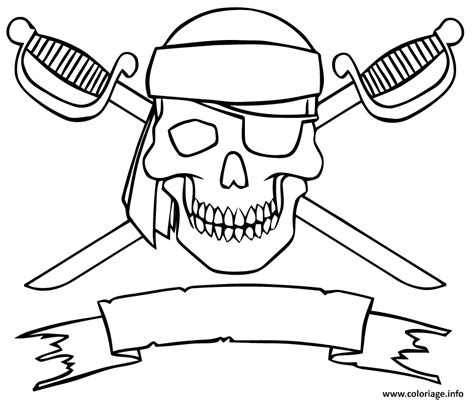 dessin bateau pirate imprimer coloriage logo pirate tete de mort epees jecolorie