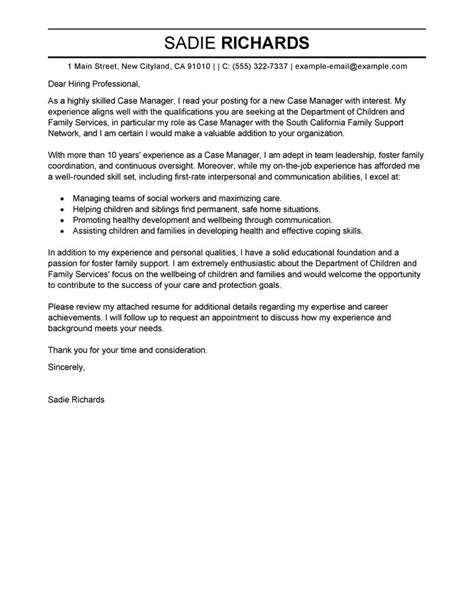 Cover Letter For Human Services Position Best Manager Cover Letter Exles Livecareer