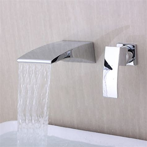 Contemporary Wall Mounted Waterfall Chrome Finish Curve Spout Bathtub Faucet