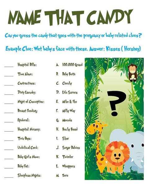 dog themed names jungle animal baby shower game name that candy jungle