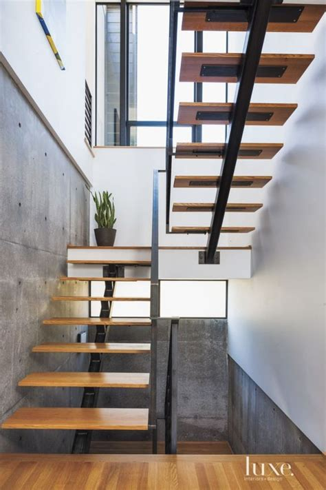 Metal Stairs Design Modern White Oak And Steel Staircase Luxe Halls Stairs Pinterest Design Staircases
