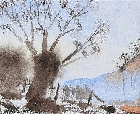 Lindsays A Lot Of In Japan by William Lindsay Tree In A Landscape Watercolour Drawing