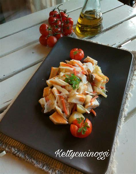 cucinare surimi insalata di surimi con patate olive e carote ketty