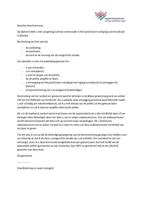 brief opstellen datum voorbeeldbrief pandverbod agressieve klanten