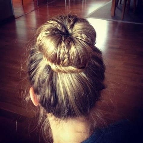 cool hair donut cool braid bun my style pinterest