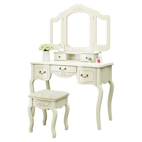 Jewelry And Makeup Vanity Table Vanity Makeup Table Set With Stool Tri Folding Mirror 5 Drawers Jewelry White Ebay
