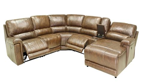 Modern Reclining Sectional by Hazelnut Leather 6pc Modern Reclining Sectional Sofa