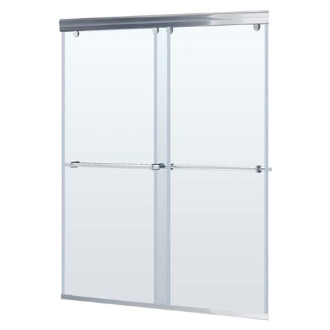 Glass Shower Doors Lowes Shop Dreamline Charisma 56 In To 60 In W X 72 In H Brushed Nickel Sliding Shower Door At Lowes