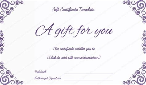 template for gift certificate free purple free printable gift certificates pdf