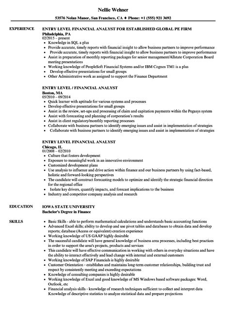 entry level financial analyst resume sle entry level business analyst resume
