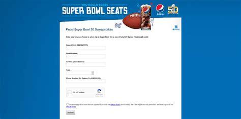 Super Bowl Sweepstakes 2015 - pepsisb50tix com pepsi super bowl 50 sweepstakes at marcus theatres