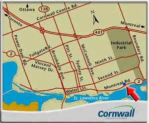 map of cornwall ontario canada location of glen stor dun lodge cornwall