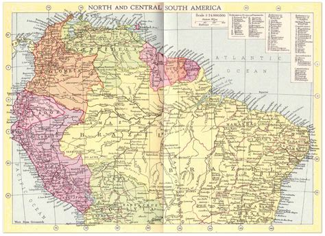 south central usa map south america and central map 1935 philatelic
