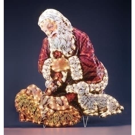 kneeling santa outdoor lighted display the catholic company