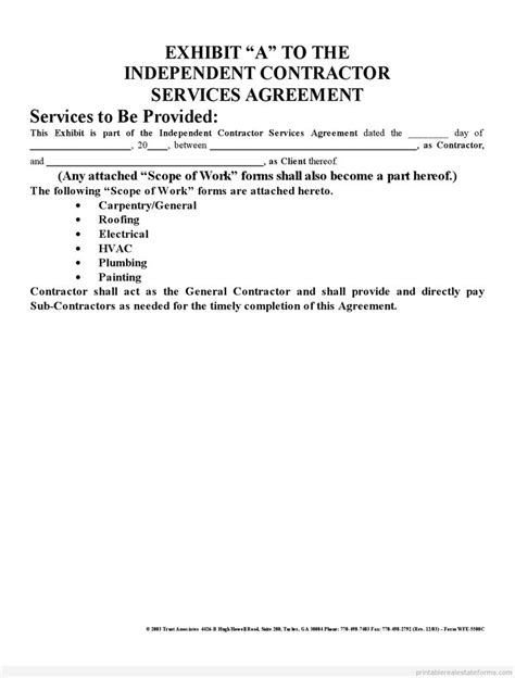 independent contractor agreement california template printable sle independent contractor agreement form