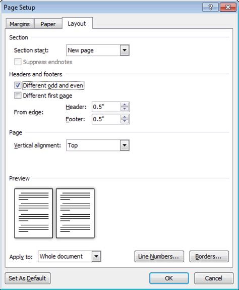 creating header and footer in php ms word 2010 make headers different for odd and even pages