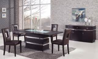 Contemporary Dining Table Sets by Sophisticated Rectangular Wood And Frosted Glass Top
